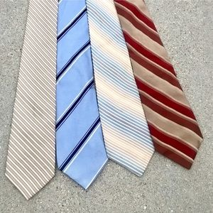 MENS SILK TIES 4 striped Wide blue red cream